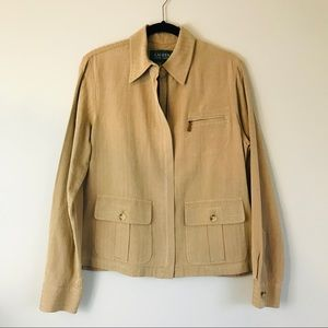 LRL | Tan Silk/Cotton Zip Up Jacket